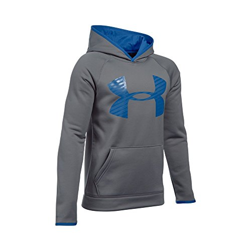 Under Armour Boys' Storm Armour Fleece Highlight Big Logo Hoodie, Graphite/Ultra Blue, Youth Large