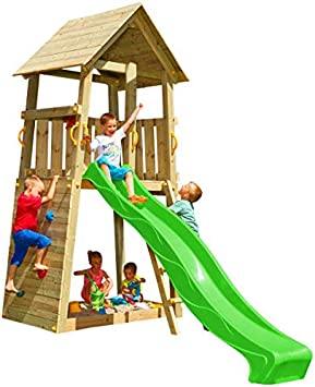 MASGAMES | Parque infantil Belvedere XL | Plataforma a 150 cm de altura | con pared de escalada | Arenero en la base | Rampa de tobogán | Anclajes incluidos | Uso doméstico |: Amazon.es: Juguetes y juegos