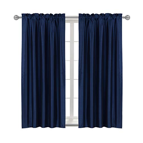Home Queen Rod Pocket Blackout Curtain Drapes for Livingroom, Thermal Insulated Light Blocking Curtains for Bedroom, 42 Inch Wide X 72 Inch Long, 2 PCS, Navy (Navy Silk Curtains)
