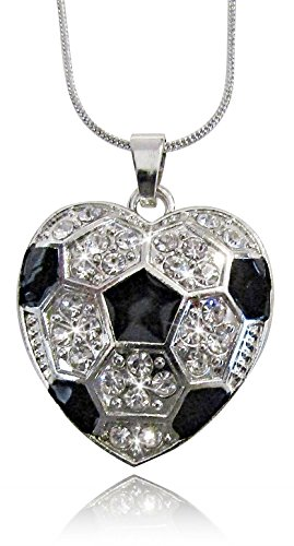 Ref And Hockey Player Costume (Silver Tone Crystal Heart Shaped Soccer Ball Necklace Sports Fan Jewelry Gift)