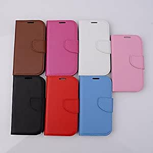 HJZ Solid Color Card Wallet Buckle Genuine Leather Cover With for Samsung Galaxy S3/I9300 Case (Assorted Color) , Pink
