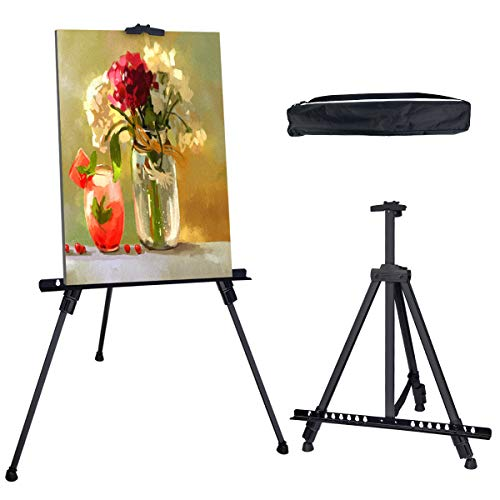 Hosim Stand Bracket Tripod Display Stand Triangular Easel for LED Flashing Illuminated Lighted Writing Board Whiteboard Chalkboard Posters Paintings Wedding Birthday Party (Carrying Bag -