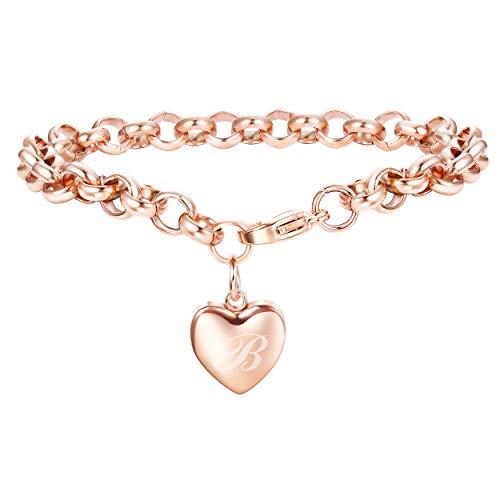 Adramata Rose Gold Personalized Initial Bracelets for Women Girls Customized Heart Cute Ankle Bracelets Adjustable B