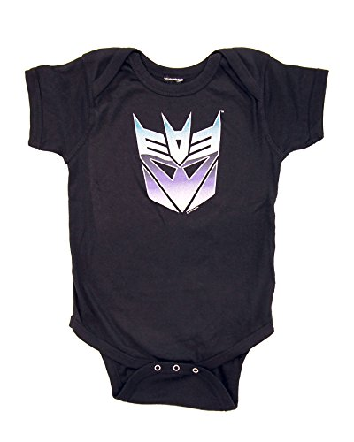 Transformers Decepticon Color Shield Black Onesie Baby Romper (12-18 Months) ()