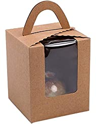 Single Cupcakes Containers Gift Boxes with Window Inserts Handle for Wedding Candy Boxes Muffin Box