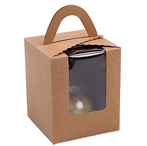 50 Pcs Single Brown Kraft Paper Cupcakes Containers Gift Boxes with Window Inserts Handle for Wedding Candy Boxes