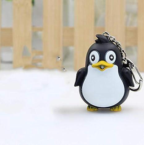 MTSZZF 1 Unids Lindo Llavero de Pingüino Led Antorcha con Llavero de Sonido Navidad Navidad Favores de Partido Bolsa de Rellenos Juguetes Divertidos ...