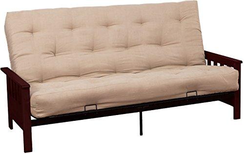 Epic Furnishings Berkeley 10-inch Loft Inner Spring Futon Sofa Sleeper Bed, Full-size, Mahogany Arm Finish, Microfiber Suede Khaki Upholstery