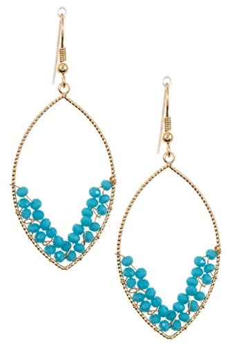 Trendy Fashion Jewelry Cluster Wired Bead Marquise Shaped Dangle Earring By Fashion Destination | (Diamond Shaped Turquoise Post Earrings)