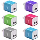 6-Pack 5V USB Plug Wall Charger Plug 1-Port Power Adapter Fast Charging Output 1A Cube Compatible with Apple iPhone, Samsung Galaxy, Note, HTC, LG & More (Multi-Colored) White