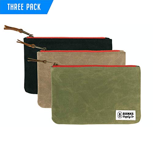 Canvas Tool Bag Zipper Pouch - Heavy Duty Zipper, Durable Cord & Electronics Storage, Utility Tool Bags, Pencil Case Organizer, Cosmetic & Toiletry Tote Bag, Money & Bank Bag, Waxed Canvas (3 PACK)