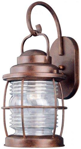 Large Wall Outdoor Beacon Lantern (Kenroy Home 90953GC Beacon Large Wall Lantern Gilded Copper Clear Ridged)