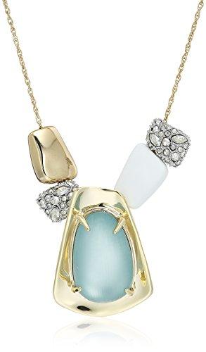 Alexis Pendant - Alexis Bittar Sliding Metal Bead Blue Grey Pendant Necklace