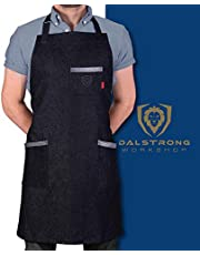 Dalstrong Professional Chef's Kitchen Apron - The Night Rider - 100% Cotton Black Denim - 4 Storage Pockets - Liquid Repellent Coating - Genuine Leather Accents - Adjustable Straps
