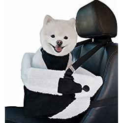 Cozy Boost Travel Set: Dog Car Booster Seat (Black and White) + Plush Blanket + Travel Dish