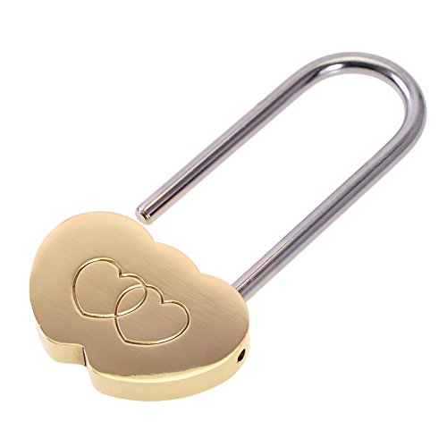 SEADEAR Romantic Solid Brass Double Heart Padlock for Valentine's Day Gift and Wedding Favor with Stylus (M)