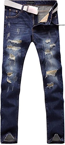 blue Denim Painted Peinte Stretch Pantalons Pants Casual J229 Mens Slim Jeansian Hommes Mjb067 F47nqIf