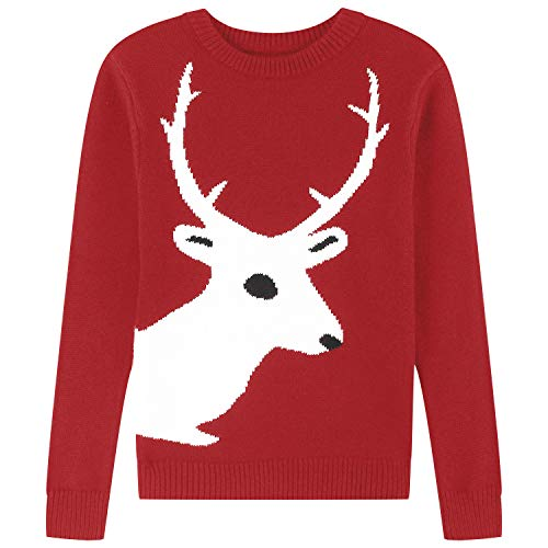 Adory Sweety Tops Sweater for Kids Baby Boy Toddler Adorable Crew Neck Cute Jacquard Knit with Reindeer Long Sleeve Pullover for Chrismas (red, 8Y)]()