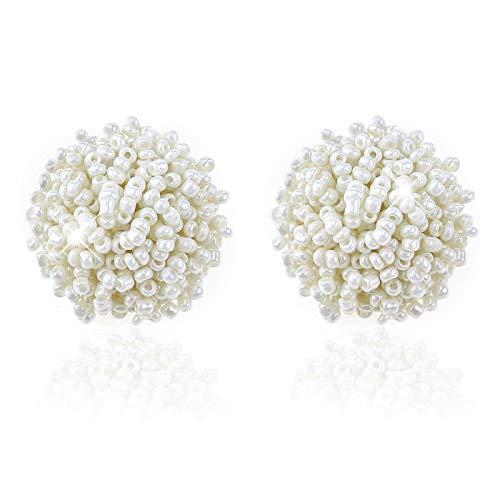 Chamqueen Bohemian Beaded Round Earring Handmade Beaded Stud Statement Beaded Earrings for Woman White