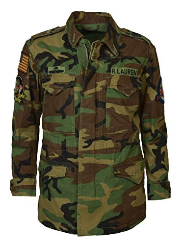 (Polo Ralph Lauren Women's Camo Military Style Patch Jacket - XL - Green Camo)