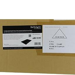 StarTech.com 1U Adjustable Mounting Depth Vented Rack Mount Shelf - Heavy Duty Fixed Server Rack Cabinet Shelf - 250lbs / 113kg