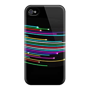 Marthaeges Iphone 4/4s Hybrid Tpu Case Cover Silicon Bumper Light Lines