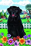 "Black Labrador Retriever – by Tomoyo Pitcher, Spring Dog Breed 28"" x 40"" Flag Review"
