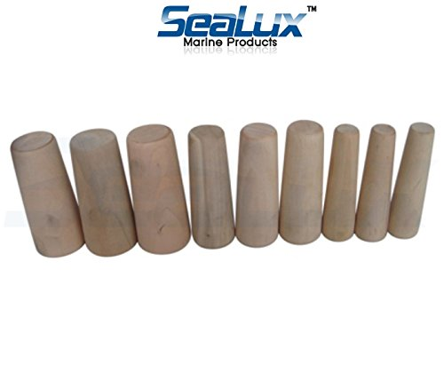 SeaLux Marine Tapered Conical Thru-hull Emergency soft Wood Plugs Set of 9 for large hull (Boat Tools Wooden)