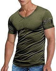NEWISTAR Herren T-Shirt V-Ausschnitt Kurzarm Tshirts Sommer Einfarbige Tee Tops mit Tasche