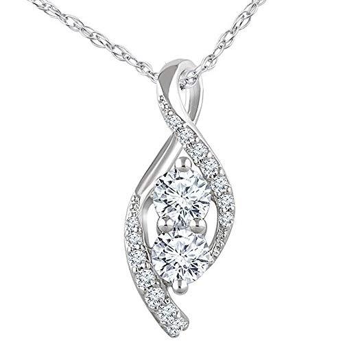 5/8ct Two Stone Diamond Freeform Pendant 10k White Gold 5/8