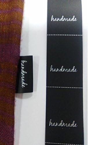200 etiquetas textiles NEGRAS Handmade, para coser a costura en ...