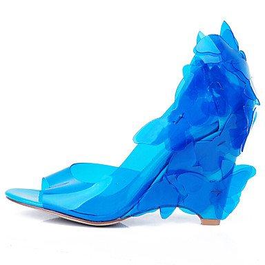 Tacón Informal y Oficina Rosa Vestido Mujer Trabajo Blue PU Café Azul Marrón Sandalias Morado Claro Azul Confort LvYuan Cuña F5fSz