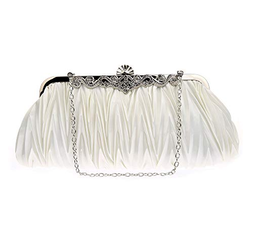 - FJMM Womens' Evening Clutch Bags Classic Satin Pleated Wedding Party Purse
