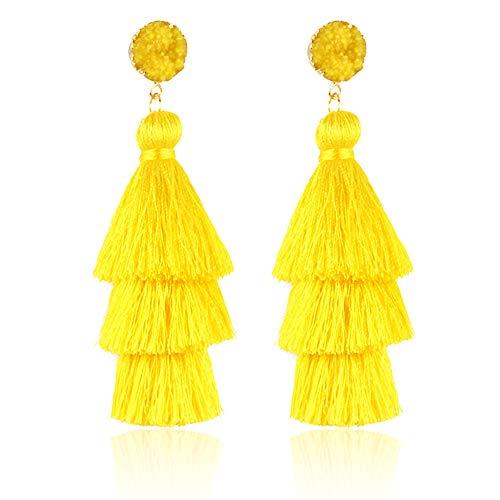tassel earrings for women - Tiered Thread Tassel Dangle Earrings Statement Layered Tassel Drop Earrings yellow ()