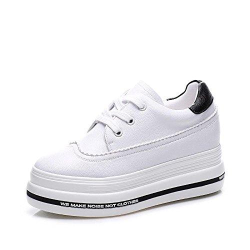 4 Que Comodidad La Libre Caminan Cuero Ocasional De Zapatos Lvyuan Blancos Mujeres Zapatillas Plano Deporte Carrera Las Aire Y Patente Flatform Talón Manera Oficina Al TaATBSUn