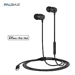 PALOVUE Earflow In-Ear Lightning Headphone Magnetic Earphone MFi Certified Earbuds with Microphone Controller for iPhone X iPhone 8/P iPhone 7/P (Metallic Black)
