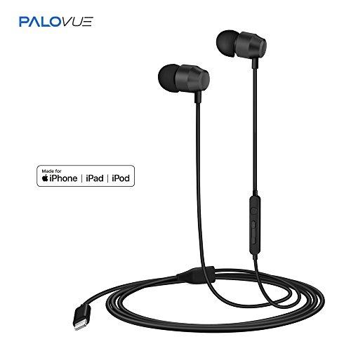PALOVUE Earflow In-Ear Lightning Headphone Magnetic Earphone MFi Certified Earbuds with Microphone Controller for iPhone X iPhone 8/P iPhone 7/P (Metallic (Lightweight Ear Clip Headphone)
