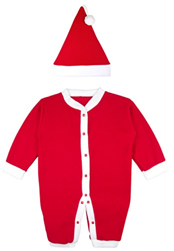 Lilax Baby Girls' Holiday Christmas Santa Red Fleece Romper 3M (Santa Claus Costumes For Sale)