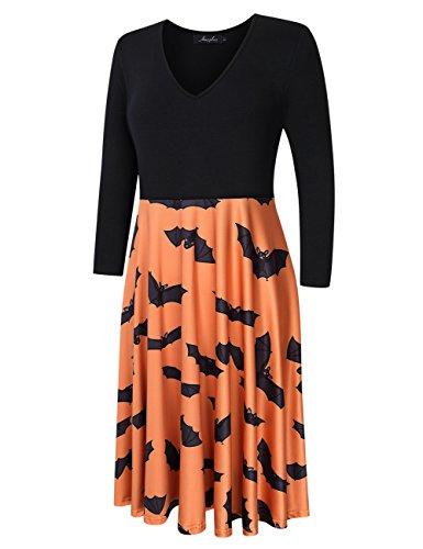 Women Dresses Halloween Plus Size PLUS L Swing Orange Sleeve 4 3 AMZ Party 5XL Casual PxSR5n
