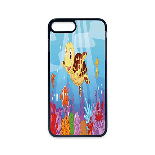 Phone Case Compatible with iPhone7 Plus iPhone8 Plus 2D Print Black Edge,Turtle,Funny Adorable Cartoon Style Underwater Sea Animals Baby Turtle and Fish Collection,Multicolor,Hard Plastic Phone Case ()
