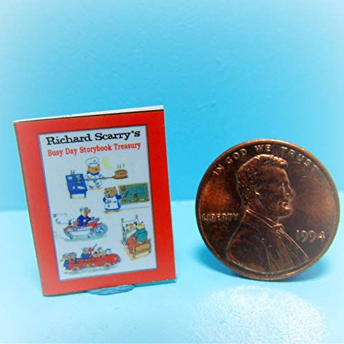 Storybook Miniature - Dollhouse Replica Book Richard Scarry's Busy Day Storybook KL0161 - Miniature Scene Supplies Your Fairy Garden - Doll House - Outdoor House Decor