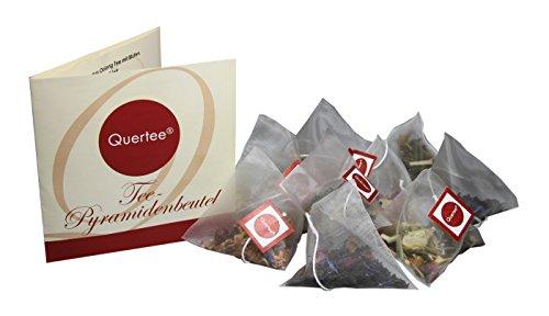 24 + 1 = 25 x Tee Pyramidenbeutel mit 5 verschiedenen Teesorten zum Probieren und Verschenken - Tee Probierset von Quertee® (70 g insgesamt)