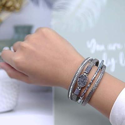 Leather Wrap Bracelet Boho Cuff Bracelet Crystal Bead Bracelet Rhinestone Handmade Bangle Magnetic Clasp Bracelet for Women Valentines Gift