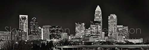 Charlotte Skyline PHOTO PRINT UNFRAMED NIGHT Black & White B