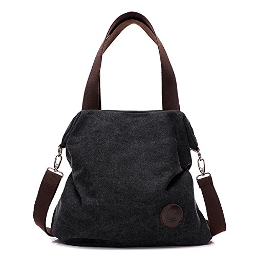 Shoulder Bag Crossbody bag Mid Size Handbag Canvas Tote Bag For Women Girls Casual Travel Messenger Bag Brown Black
