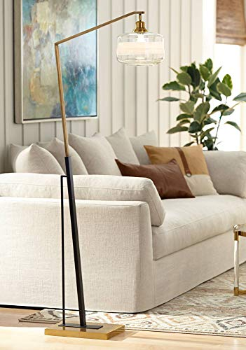 Angular Bowl - Kasmir Modern Arc Floor Lamp Antique Brass and Black Powder Coated Clear Glass Bowl Shade for Reading Bedroom Office - Possini Euro Design