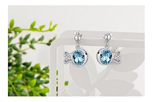 [Yuriao Jewelry Fashion Crystal Diamond Accented Clown Fish Earrings£¨white£] (Thailand National Costume For Women)