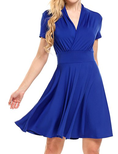 Zeagoo Women Casual V Neck Empire Waist Dress Crossover A Line Homecoming Dress Blue_XL ()