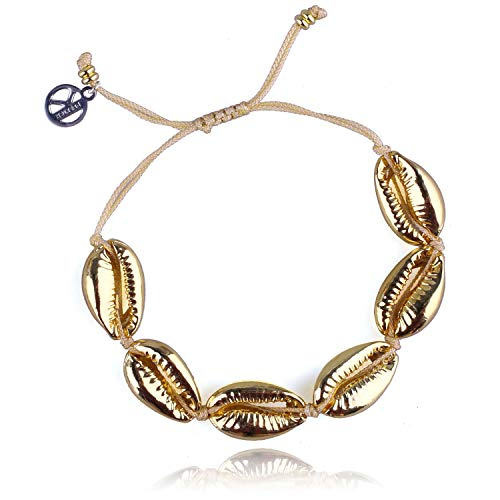 KELITCH Hot Lips Shape Wrap Bracelets Shell Beaded Friendship Bracelets Kiss Charm Bangle DIY Gifts of Love for Women (Gold)