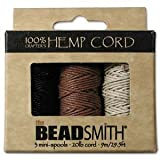 Beadaholique Beadsmith Natural Hemp Twine Bead Cord 1mm, Black, Brown and Natural, 29.5 Feet Each